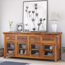 San Francisco Solid Wood Glass Door Large Buffet Cabinet