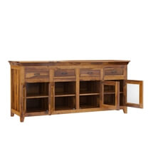 San Francisco Solid Wood Glass Door 4 Drawer Large Buffet Cabinet