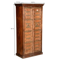 Flagler Rustic Solid Reclaimed Wood Tall Armoire With Shelves
