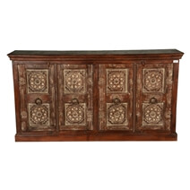 Comerford Hand Carved Mandalas Reclaimed Wood Large Buffet Cabinet