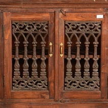 Georgian Reclaimed Wood Iron Grill Door Large Rustic Sideboard Cabinet