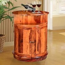 Marion Rustic Round Mini Bar Cabinet with Double Sided Barrel Doors