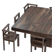 Modern Rustic Solid Wood 64 Square Pedestal Dining Table & 8 Chairs