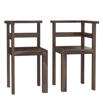 Pescara Rustic Solid Wood Square Pedestal Dining Table Chairs Set