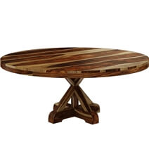 Bedford Rustic Solid Wood 72 X Pedestal Round Dining Table