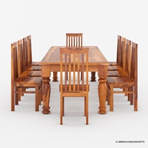 Clermont Rustic Solid Wood 14 Piece Dining Room Set