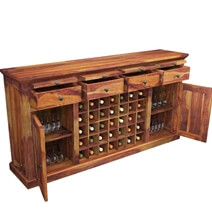 Oenophile Dallas Ranch Solid Wood Grand Wine Bar Cabinet
