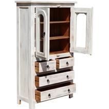 Mangilao Winter White Rustic Solid Mango Wood Display Cabinet Armoire