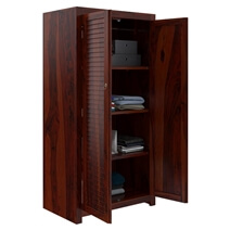 Celoron Louvered Large Rustic Solid Wood Wardrobe Armoire With Shelves