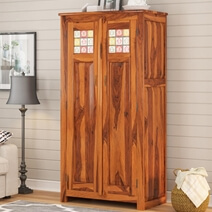 Elba Rustic Solid Wood Wardrobe Armoire With Shelves And Drawers