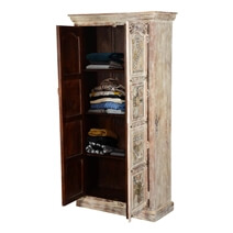 Modern Mosaic Brass Inlay Solid Wood Tall Storage Cabinet