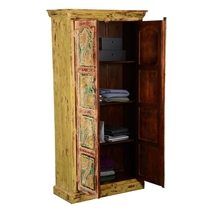Van Gogh Swirls Distressed Handcrafted Mango Wood Armoire With Shelves