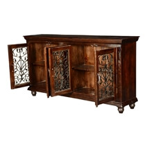 Italian Classic Mango Wood Iron Grille Door Large Buffet Cabinet