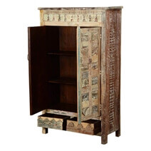 Chess Board Solid Mango Wood Cabinet Armoire With Shelves And Drawers
