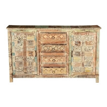 Kathreen Hand Carved Mango Wood 4 Drawer Rustic Sideboard