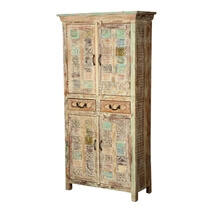 Lora Hand Carved Patterns Distressed Mango Wood Tall Cabinet W Drawers