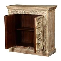 Gothic Winter Mango Wood Double Door Freestanding Cabinet