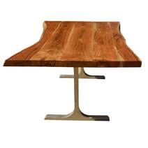 Solid Wood & Iron Base Santa Fe Live Edge Dining Table