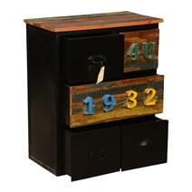 1932 4U Mango Wood and Industrial Iron 5-Drawer Mini Dresser