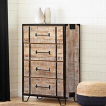 Winter White Mango Wood 4 Drawer Industrial Dresser