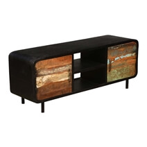 Rustic Industrial Reclaimed Wood & Iron TV Console Media Console