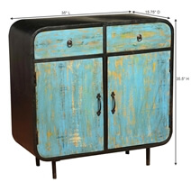 Wellborn Retro Solid Wood 2 Drawer Industrial Buffet Cabinet