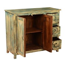 Ephraim Mango Wood Blue Freestanding 3 Drawer Storage Cabinet