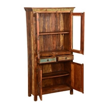Dunbar Rustic Reclaimed Wood Glass Door 2 Drawer Display Cabinet