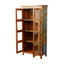 Albion Glass Door Rustic Solid Reclaimed Wood Display Cabinet Armoire