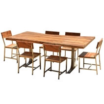 Sierra Solid Wood Rustic Live Edge Dining Table & Chairs Set