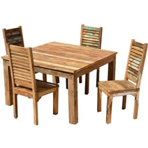 Ohio Reclaimed Wood Furniture Dining Table & Shutter Back Chairs Set