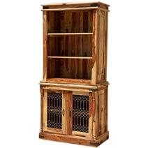 Shreveport 3 Open Shelf Rustic Solid Wood Office Bookcase Hutch