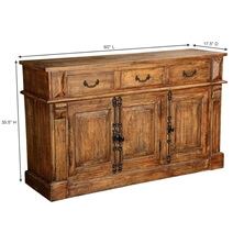 Teton Rustic Solid Wood 3 Drawer Large Sideboard Cabinet