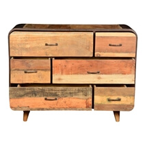 60's Retro Rustic Industrial Reclaimed Wood Dresser With 6 Drawers