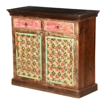 Sumter Handcrafted Brass Inlay Door Mango Wood 2 Drawer Buffer Cabinet