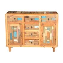 Mondrian Handcrafted 6 Drawer Rustic Reclaimed Wood Sideboard