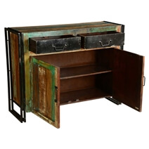 Belvoir Rustic Reclaimed Wood Freestanding Industrial Buffet Cabinet