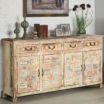 Primitive Carvings Distressed Mango Wood 4 Drawer Large Sideboard