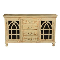 Gothic Arches Grille Distressed Mango Wood 4 Drawer Rustic Sideboard