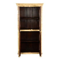 Diamond Grill Distress Mango Wood Display Cabinet Armoire With Shelves