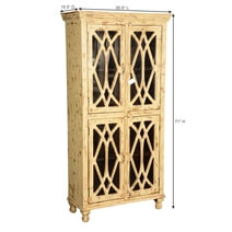 Diamond Grille Distressed Mango Wood Glass Door Armoire