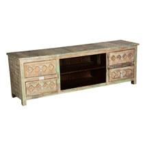 Country Diamonds Mango Wood Rustic TV Console Media Cabinet
