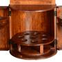 Hebron Solid Wood Barrel Design Tower Bar Cabinet with Wine Storage