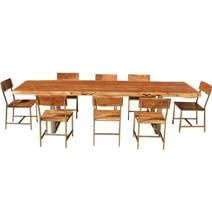 Live Edge Acacia Wood & Iron 106 Modern Dining Table & 8 Chairs