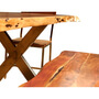 Live Edge Acacia Wood & Iron 106 Dining Table w 5 Chairs & Bench
