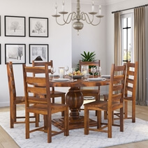 Cloverdale Solid Wood Pedestal Round Dining Table