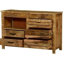 Rustic Stripes Mango Wood 5 Drawer Accent Dresser
