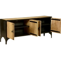 Warsaw Modern Mango Wood Industrial Long Buffet Cabinet
