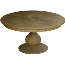 Smokey Tan Solid Mango Wood Round Pedestal Farmhouse Dining Table