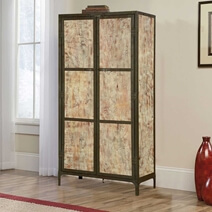 Lyons Blond Solid Mango Wood & Iron Freestanding Armoire With Shelves